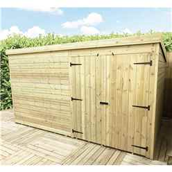 10 x 8 Windowless Pressure Treated Tongue And Groove Pent Shed With Double Doors
