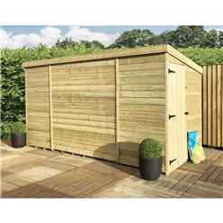 12 x 4 Windowless Pressure Treated Tongue And Groove Pent Shed With Side Door (Please Select Left Or Right Door)