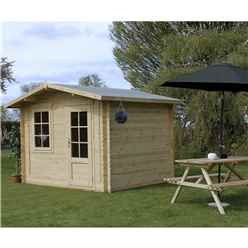 3m x 2.4m (10 x 8) Apex Log Cabin (Single Glazing) + Free Floor & Felt & Safety Glass (44mm)