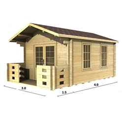 3m x 4m (10 x 13) Apex Log Cabin (2016) - Double Glazing + Double Doors - 44mm Wall Thickness