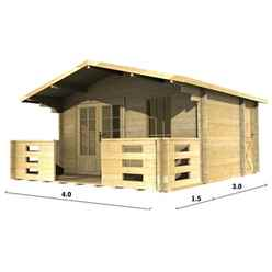 4m x 3m (13 x 10) Apex Log Cabin (2045) - Double Glazing + Double Door - 44mm Wall Thickness