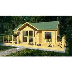 7m x 5m (23 x 16) Apex Reverse Log Cabin (4120) - Double Glazing + Double Doors - 70mm Wall Thickness