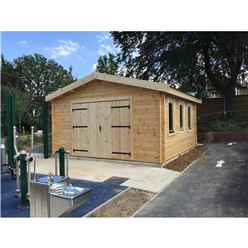 4m x 5m (13 x 16) PREMIER Garage Log Cabin - Double Glazing - 70mm Wall Thickness