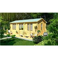 7m x 4m (23 x 13) Apex Reverse Log Cabin (5150) - Double Glazing - 70mm Wall Thickness