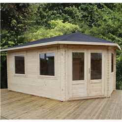 5m x 3m Extended Corner Log Cabin (Single Glazing) + Free Floor & Felt & Safety Glass (34mm) - Right Door