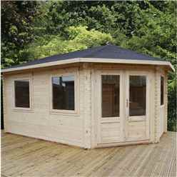 5m x 3m Extended Corner Log Cabin (Double Glazing) + Free Floor & Felt & Safety Glass (44mm) - Right Door