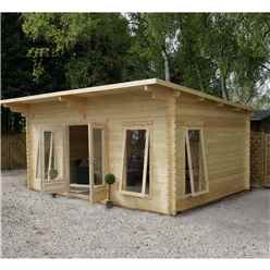 4m x 5.2m Modern Log Cabin (Double Glazing) with FREE Felt (44mm)