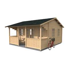 5m x 4m Reverse Apex Log Cabin with Verandah (34mm Tongue and Groove) + Free Floor & Felt & Safety Glass