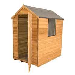 6 x 4 Overlap Apex Wooden Garden Shed With 1 Window And Single Door