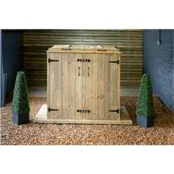 Double Redwood Pressure Treated Wheelie Bin Store - 140 Litre Bins