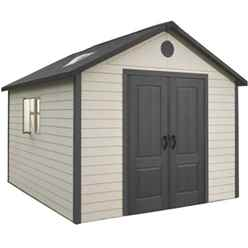 **PRE-ORDER: DUE BACK IN STOCK END OF MAY** 11 x 11 Life Plus Plastic Apex Shed with Plastic Floor + 2 Windows (3.37m x 3.37m)
