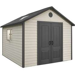 **PRE-ORDER: DUE BACK IN STOCK END OF MAY** 11 x 13.5 Life Plus Plastic Apex Shed with Plastic Floor + 2 Windows (3.37m x 4.13m)