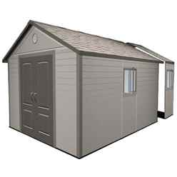 **PRE-ORDER: DUE BACK IN STOCK END OF MAY** 11 x 16 Life Plus Plastic Apex Shed with Plastic Floor + 4 Windows (3.37m x 4.89m)