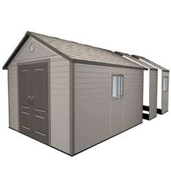 **PRE-ORDER: DUE BACK IN STOCK END OF MAY** 11 x 18.5 Life Plus Plastic Apex Shed with Plastic Floor + 4 Windows (3.37m x 5.65m)