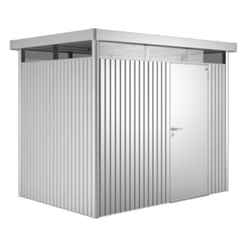 8FT X 6FT PREMIUM HEAVY DUTY SILVER METALLIC METAL SHED (2.75M X 1.95M)