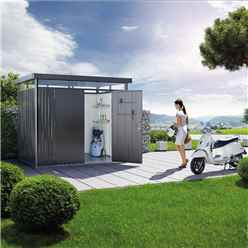 8FT X 6FT PREMIUM HEAVY DUTY SILVER METALLIC METAL SHED WITH DOUBLE DOORS (2.75M X 1.95M)
