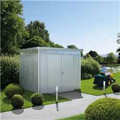 8FT X 8FT PREMIUM HEAVY DUTY SILVER METALLIC METAL SHED WITH DOUBLE DOORS (2.75m x 2.75m)