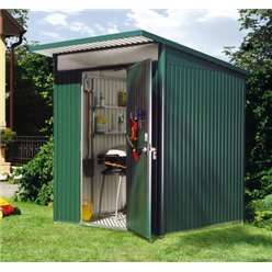 6FT X 7FT MEDIUM PREMIUM HEAVY DUTY DARK GREEN METAL SHED (1.8M X 2.2M)