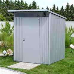 6 X 7 MEDIUM PREMIUM HEAVY DUTY METALLIC SILVER METAL SHED (1.8M X 2.2M)