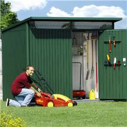 8FT X 7FT LARGE PREMIUM HEAVY DUTY DARK GREEN METAL SHED (2.6M X 2.2M)
