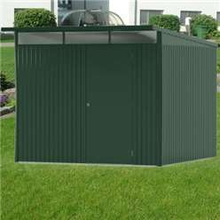 8FT X 10FT EX LARGE PREMIUM HEAVY DUTY DARK GREEN METAL SHED (2.6M X 3M)
