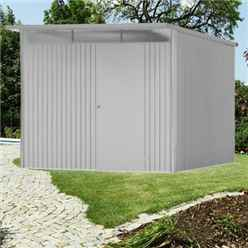 8FT X 10FT EX LARGE PREMIUM HEAVY DUTY METALLIC SILVER METAL SHED (2.6M X 3M)