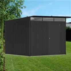 8FT X 10FT EX LARGE PREMIUM HEAVY DUTY DARK GREY METAL SHED (2.6M X 3M)