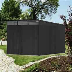 8FT X 12FT XX LARGE PREMIUM HEAVY DUTY DARK GREY METAL SHED (2.6M X 3.8M)