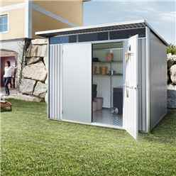 8FT X 7FT LARGE PREMIUM HEAVY DUTY METALLIC SILVER METAL SHED WITH DOUBLE DOORS (2.6M X 2.2M)