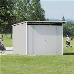8FT X 10FT EX LARGE PREMIUM HEAVY DUTY DARK GREEN METAL SHED WITH DOUBLE DOORS (2.6M X 3M)