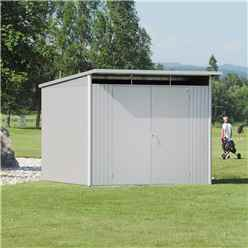 8FT X 10FT EX LARGE PREMIUM HEAVY DUTY METALLIC SILVER METAL SHED WITH DOUBLE DOORS (2.6M X 3M)