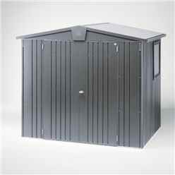8FT X 5FT PREMIUM HEAVY DUTY METALLIC DARK GREY METAL SHED (2.44M X 1.56M)