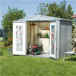 8FT X 5FT PREMIUM HEAVY DUTY METALLIC SILVER METAL SHED (2.44M X 1.56M)