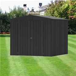 8FT X 7FT PREMIUM HEAVY DUTY METALLIC DARK GREY METAL SHED (2.44M X 2.28M)