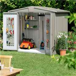 8FT X 7FT PREMIUM HEAVY DUTY QUARTZ GREY METAL SHED (2.44M X 2.28M)