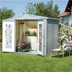 8FT X 7FT PREMIUM HEAVY DUTY METALLIC SILVER METAL SHED (2.44M X 2.28M)
