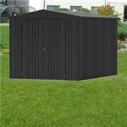 8FT X 10FT PREMIUM HEAVY DUTY METALLIC DARK GREY METAL SHED (2.44M X 3M)