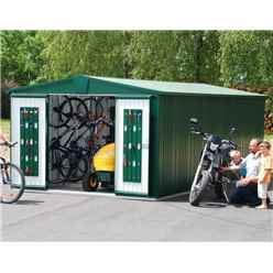 10FT X 10FT PREMIUM HEAVY DUTY DARK GREEN METAL SHED (3.16M X 3M)