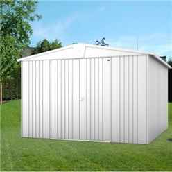 10FT X 10FT PREMIUM HEAVY DUTY METALLIC SILVER METAL SHED (3.16M X 3M)