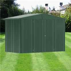 10 X 5 PREMIUM HEAVY DUTY DARK GREEN METAL SHED (3.16M X 1.56M)