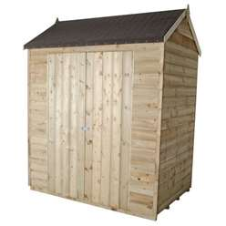 4 x 6 Pressure Treated Reverse Overlap Apex Shed Double Doors - Assembled