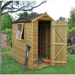 6 x 4 Tongue and Groove Pressure Treated Apex Shed - Installed