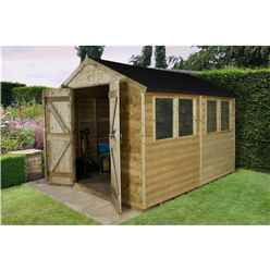 10 x 8 Tongue and Groove Pressure Treated Apex Shed - Installed