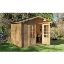 3.0m x 2.5m Apex Log Cabin (Single Glazing) + 28mm Machined Logs **Includes Free Shingles**