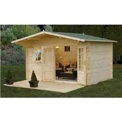4.0m x 3.0m Apex Log Cabin (Single Glazing) + 34mm Machined Logs **Includes Free Shingles**