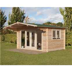 4.0m x 3.0m Apex Log Cabin with Double Doors (Double Glazing) + 34mm Machined Logs - INSTALLED **Includes Free Shingles**