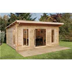 5.0m x 4.0m Large Contemporary Pent Log Cabin (Double Glazing) + 44mm Machined Logs - INSTALLED **Includes Free Shingles**