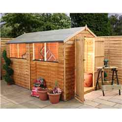 INSTALLED 10 x 6 Overlap Apex Shed With Double Doors With Double Doors + 4 Windows (10mm Solid OSB Floor) - INCLUDES INSTALLATION
