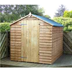 INSTALLED 8 x 6 Overlap Apex Windowless Shed With Single Door (Solid 10mm OSB Floor) - INCLUDES INSTALLATION