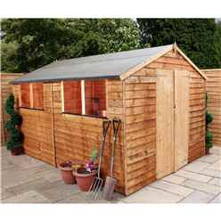 INSTALLED 12 x 8 Overlap Apex Shed With Double Doors + 4 Windows (10mm Solid OSB Floor) - INCLUDES INSTALLATION